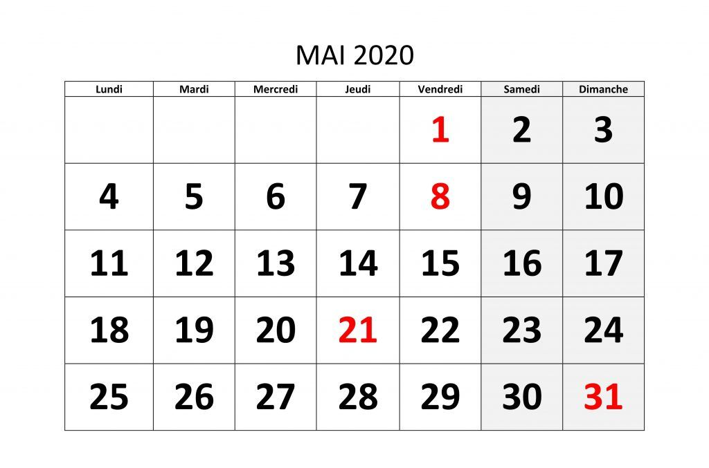 Calendrier 2020 Excell.Mai 2020 Calendrier Modeles Imprimables Pdf Mot Excel