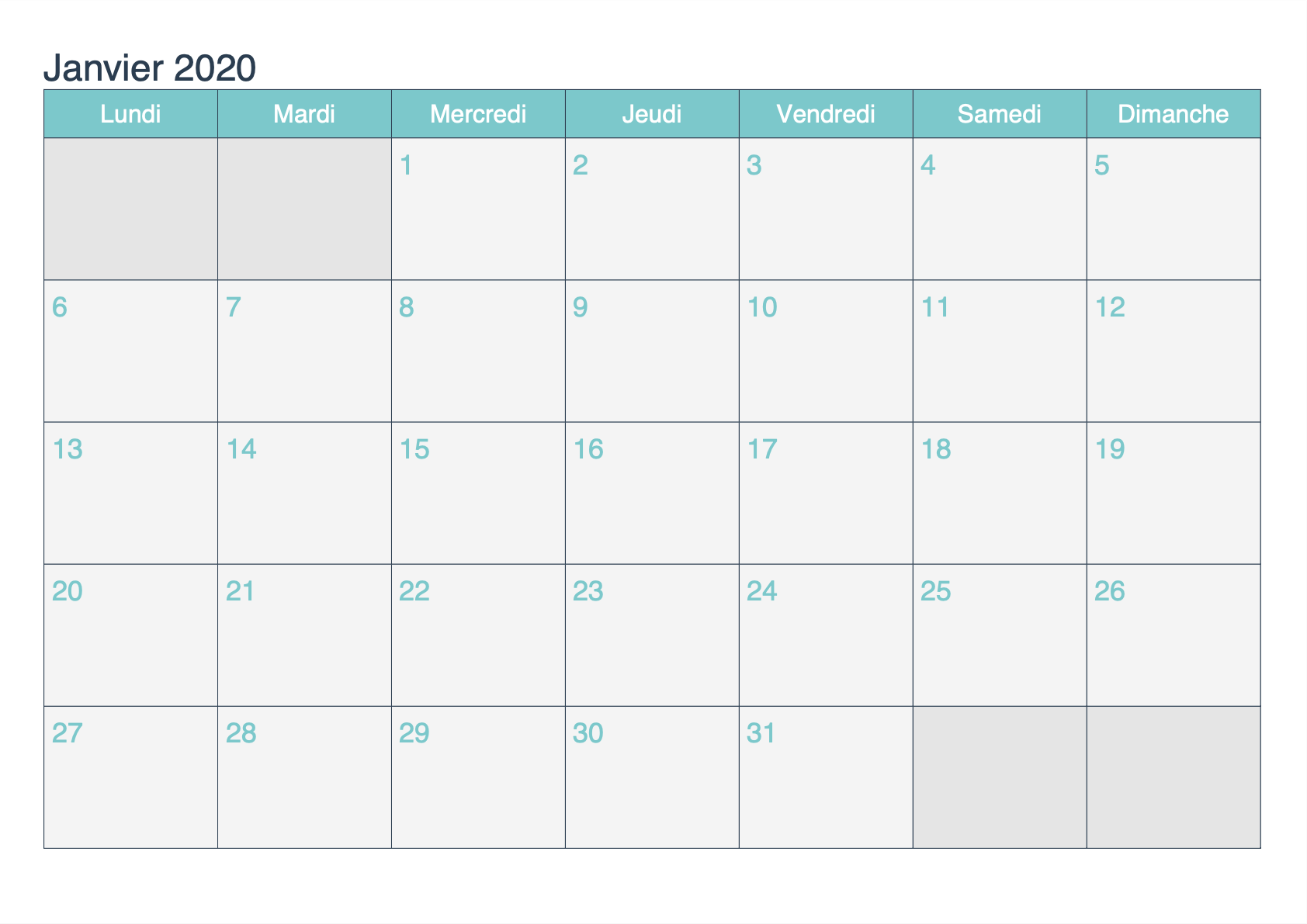 Calendrier 2020 Excell.Janvier 2020 Calendrier Imprimables Pdf Mot Excel