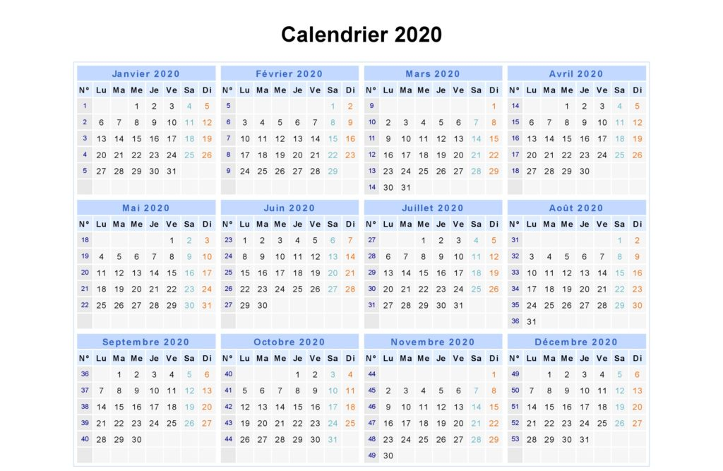 Calendrier 2020 Excell.Maroc Calendrier 2020 Imprimables Pdf Mot Excel
