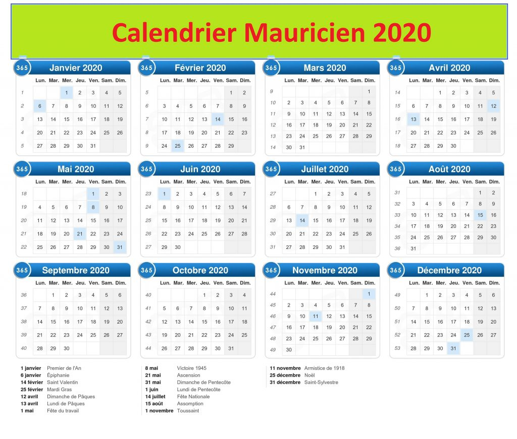 Calendrier Maurice 2020 PDF