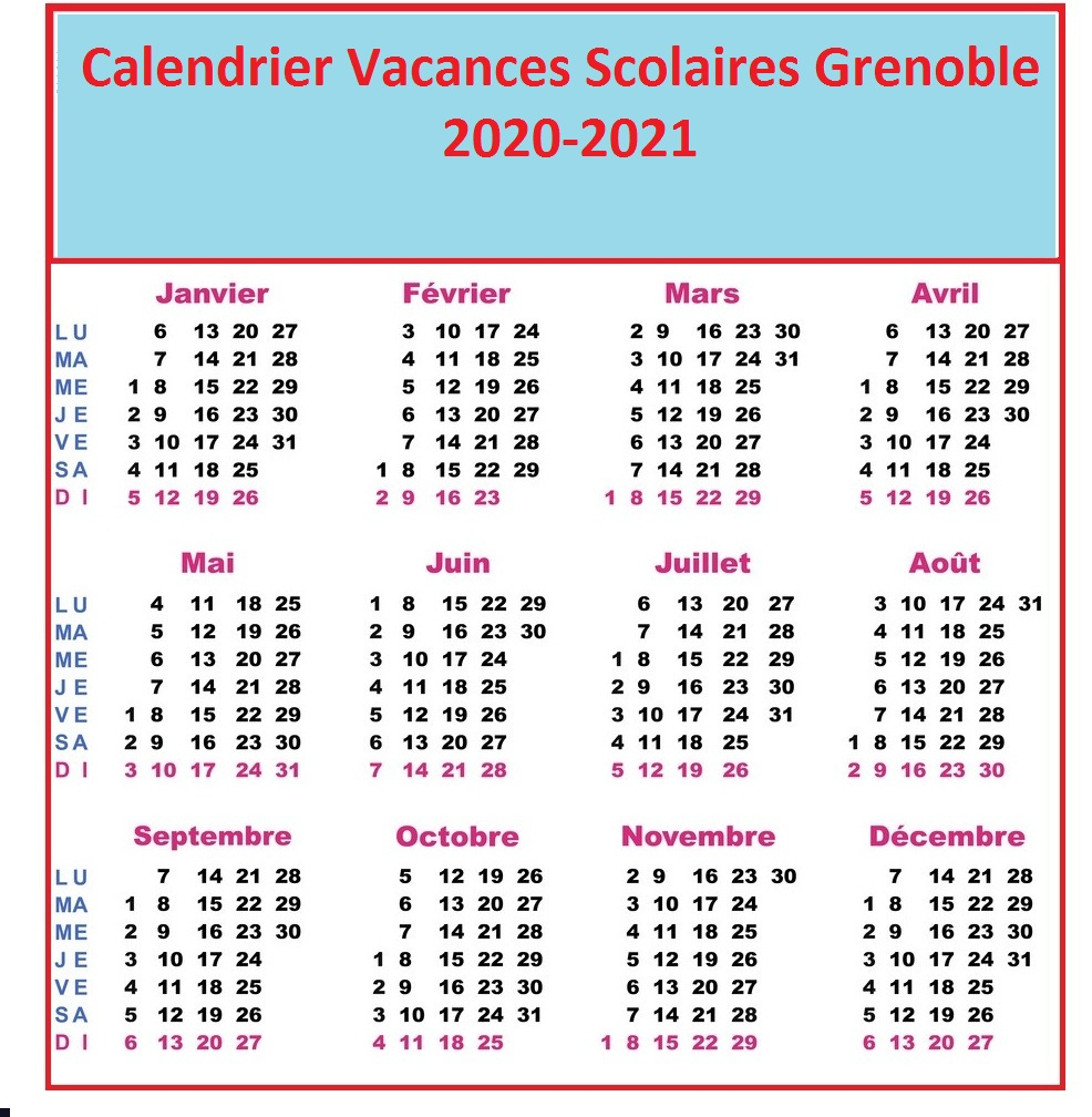 Calendrier Vacances Scolaires 2020 Grenoble