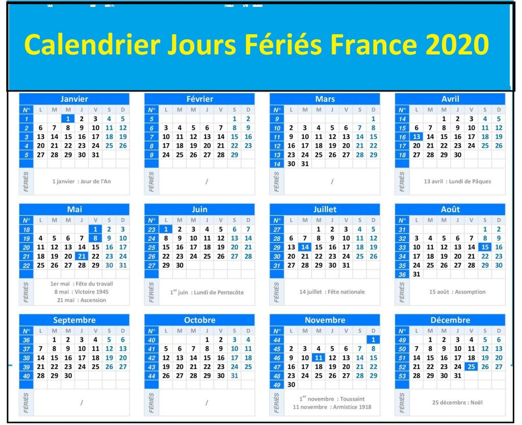 Jours Feries France 2020 Excel