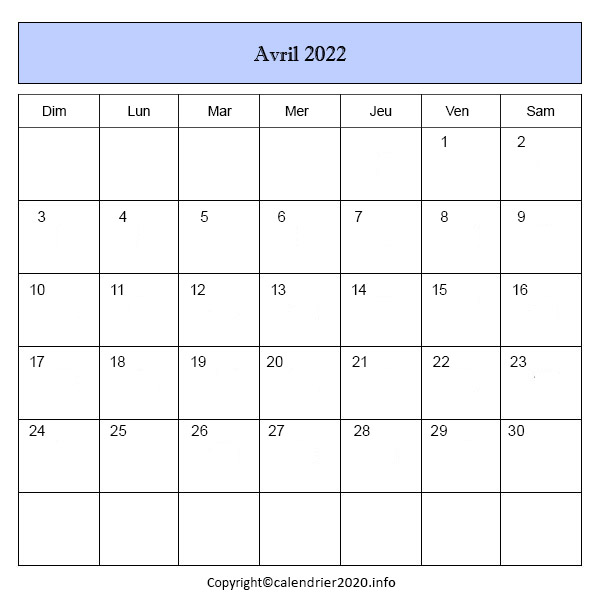 Calendrier Avril 2022 PDF, Word, Excel